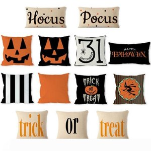 Halloween decorative abstract pumpkin treat or trick home decor square throw pillow case covers cotton linen pillowcases for couch patio
