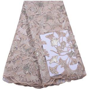 Tissus africains de dentelle pour le tissu de dentelle de soie de lait de mariage avec des paillettes de haute qualité pour la robe de femmes