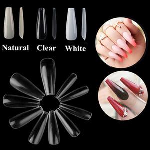 500 unids / bolsa Coffin Nail Tips Press On Nails Extremidades largas y falsas de las extremidades Cubierta completa Diy Acrylic Fake Nails 10 Tamaños