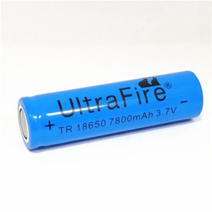 blue UltreFire battery 18650 7800mAh 3.7V flat-head rechargeable lithium battery for hand-held fan flashlight battery Free shipping