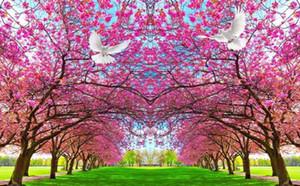 soggiorno moderno sfondi Cherry blossom, fiori di pesco, la pace colomba, fondo piatto, carta da parati