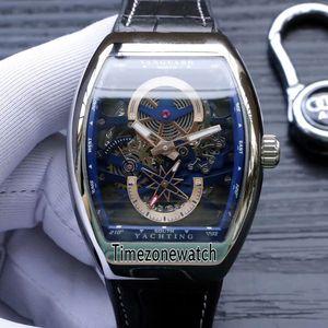 Neu Saratoge Vanguard S6 Yachting V45 S6 YACHT Stahlgehäuse Skeleton Blue Dial Automatische Herrenuhr Lederband Herrenuhren Timezonewatch