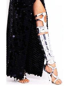 Venda-Silver Hot Ouro Buckles Cruz mulheres frescos Cavaleiro Sandália botas sobre o joelho Salto Alto Peep Toe Manga comprida Gladiator Botas