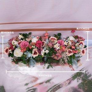 Шелковая роза пион гортензия процитированные искусственные цветы для свадьбы украшение дома ряд арочные двери поддельные цветы гирлянда