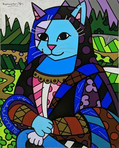 MONA CAT by Romero Britto Home Decor Handcrafts Oil Painting On Canvas Wall Art Canvas Pictures 200528