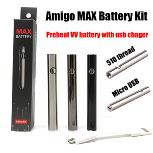 Max Akku 380mAh vorheizen 10500 Variable Voltage 510 Gewindegrund Lade Vape Batterie mit Micro-USB-Ladegerät Fit Amigo 510 Cartridge