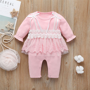 Autumn baby kids clothes Newborn baby girl cotton jumpsuits bow rompers kids  clothes girls JY525