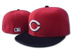 Sombreros ajustados de alta calidad sombrero para el sol Sombrero de Cincinnati Gorra roja Béisbol del equipo Equipo bordado Ala plana Béisbol adulto