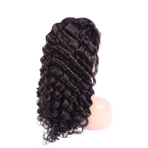 Perulu İnsan Saç 13X4 Dantel Açık Peruk Doğal Renk Derin Dalga Dantel Açık Peruk Saç Ürünleri 8-24inch Derin Dalga