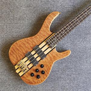 희귀 켄 스미스 4 문자열 자연 누비 메이플 탑 전기베이스 기타 활성 전선 9V 배터리 박스, 5 겹의 샌드위치 목, 금 하드웨어