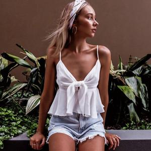 V Neck Bowknot Plissado Camisas Low Cut Plissado Alças de Ombro Tops T Shirts Shorts Branco Verão Mulheres Roupas 220231