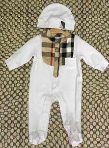Novo Macacão de Bebê Primavera Outono Roupas de Bebê Menino New Romper Algodão Bebê Recém-nascido Meninas Crianças Designer de rótulo Infantil Macacões chapéu
