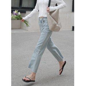 HXJJP La Nueva Corea recto con borde de los pantalones vaqueros de Verano 2020 de cintura alta pantalones vaqueros lavados de Casual