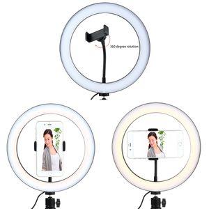 10 polegada dimmable led câmera do estúdio anel de luz da foto do telefone lâmpada de luz de vídeo com tripés selfie anel de preenchimento da luz de vedação para canon nikon camera