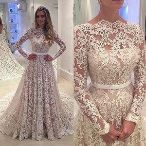 Robe De soirée Длинные рукава 2020 Кружева Свадебные платья Arabic шнурка отвесное Бато шеи сшитое See Through Назад Gowns Люкс с поясом