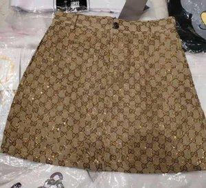 Новый дизайн мода женская летняя высокая талия a-line логотип письмо jacqaurd shinny bling горный хрусталь лоскутное роскошные короткие юбки S M L XL