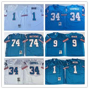 NCAA Oilers Vintage Jersey # 9 Steve McNair # 34 Earl Campbell # 74 Bruce Matthews # 1 Warren Moon maglie bianco azzurro cucita Collegio