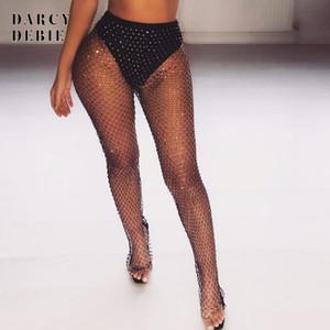 Darcydebie Diamantes Negros Mallas Pantalones Sexy Mujeres Partes de Cristal Piedras de diamantes Hollow Out Transparente Beach Club Pantalones de Fiesta Y19070301