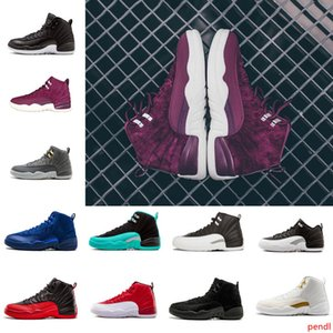 Bordeaux Dark Grey Wool 12 12s Basketball Shoes White Flu Game UNC Gym Red Taxi Gamma French Blue Suede Sneakers Mens Trainers