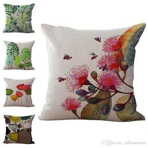 Абстрактный птица цветы Наволочка Подушка белье хлопок Бросьте наволочки диван-кровать Pillowcover DROP SHIPPING