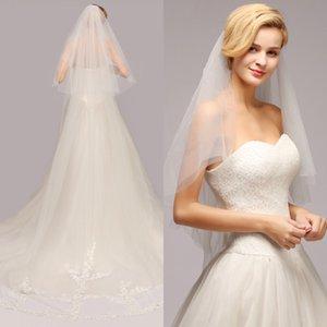 Novo casamento Véus Lace Luxo 3 metros véus de noiva apliques de renda borda branca Duas Camadas Custom Made longas Wedding Veil CPA886 transporte rápido