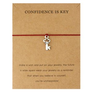 Confidence Is Key Good Luck Four Leaf Clover Peace Baby Tai Chi Angel Wings Karma Family Balance Key Lock Bracelets For Women