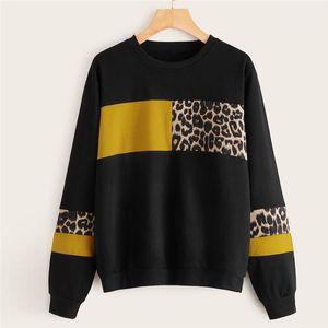 Patchwork-Langarmshirt Damen-Sweatshirts Mode-Kontrast-Farben-lose weibliche Kleidung der Frauen Designer-Leopard-Druck Hoodies