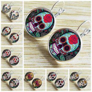Verre mexicain coloré Motif Fleur ronde Convex crâne motif fleur Boucles d'oreilles femmes Bijoux de Pâques Ornement mort