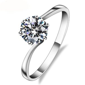Factory 18K white Real solid gold rings Moissanite diamond engagement rings for women rings wholesale with certificate