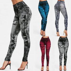 Spor Tozluklar Sahte Denim Jeans Tozluklar Cep Baskı Tozluklar Casual Hoge Taille potlood Broek Artı boyutu Yoga Broek