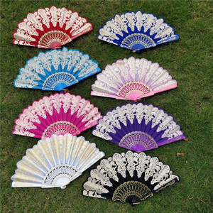 Favor 23 * 42CM Folding Hand Held Fan Flor 8 cores do verão chinês / espanhol do casamento do estilo de dança Lace ventiladores coloridos do partido