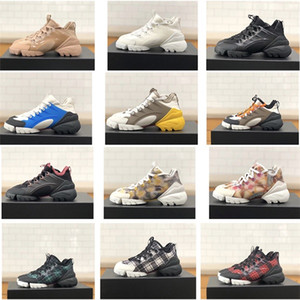 Luxo Mulheres Designer Ligação Sneaker em Multi-colored Neoprene Plataforma Lace-up Correndo Retro Trainers menina Vintage Shoes Altura 5cm US11