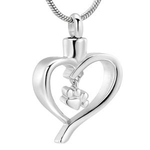 ZZL048 Pet Paw Print Corazón Cremación Colgante Collar de Recuerdo de Acero Inoxidable Urna para Perro / Gato Joyería Conmemorativa de las mujeres