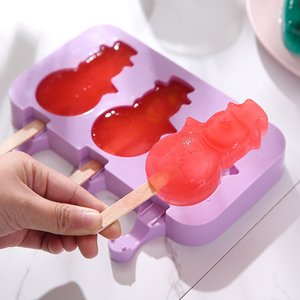 Silicone Ice Cream Mold with Cover Popsicle Sticks Animals Shape Jelly Form Maker Ice lolly Moulds Bar Ice Cube Tray Makers DBC BH3581