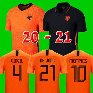 Top da equipe nacional de qualidade da tailândia camisa de futebol Netherlands 2020 2021 20 21 DE JONG PROMES kits de futebol da Holanda camisa cego MEMPHIS jerseys