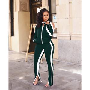 Diseñador de las mujeres Tracksutis 2019 de la manera dos piezas Conjunto de estilo deportivo atractivas ahuecan hacia fuera para mujer ropa de manga larga Set chándales de lujo de la venta caliente