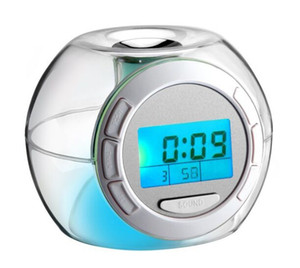 Natural Sound Therapy 7 colori che cambiano Moda LCD Digital Alarm Clock Casa LED Night Light Snooze Timer Thermomether