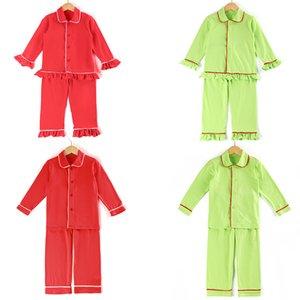 아이들 PJS 여자는 고체 소년 크리스마스 잠옷까지 프릴 잠옷 100 개 %면 버튼을 잠옷 Y200704