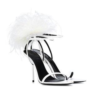 Designer Feather donne Gladiator Sandals Luxury Fashion Designer alti talloni delle donne dei pattini Prom Dress Lady Fur Buckle Strap Pumps
