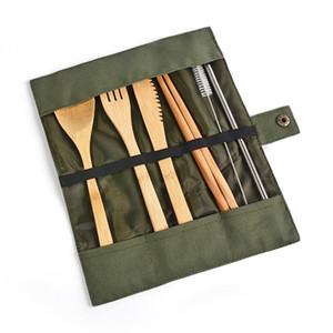 6 pc / insieme di bambù da tavola Pennello viaggio esterno portatile di posate cucchiaio Fork Knife bacchette paglia Cucina Posate Stoviglie Imposta BH1994 CY