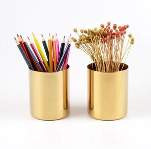 Pirinç altın vazo silindirik paslanmaz çelik kalemlik çok fonksiyonlu kalem boru çiçeği düzenlemesi iç İskandinav tarzı XD22235