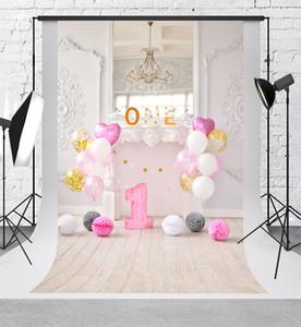 Kate doce 1º festa de aniversário fotografia backdrops balões coloridos fundo retro prancha de madeira fundos para fotografia