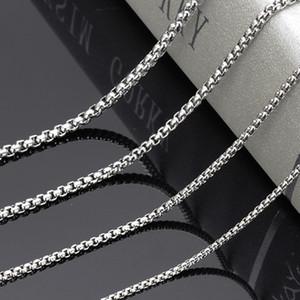 2/3/4/5/6 / 7mm cadeia de caixa de prata unisex de aço inoxidável suave rodada elo da cadeia