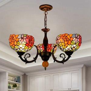 3 cabeças manchadas rosa lâmpada pingente para quarto vintage metal corpo sala de estar suspensão lâmpada de jantar bar candelabro luz