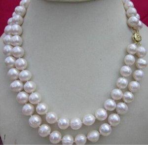 Gioielli nobile gioielli 2 fila di trasporto 9-10mm BIANCO NATURALE del MARE DEL SUD DELLA PERLA 17 - 18 pollici donne fai da te vendita calda
