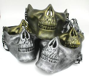 Mezza faccia protettiva maschera teschio oro argento airsoft maschera festa di halloween maschere spaventose mascherata cosplay plastica maschera horror DBC VT0781