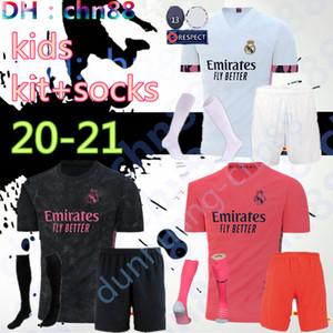 2020 2021 Real madrid enfants football Jersey sets de kit enfant jeunesse 20 21 maison camisetas de futbol JAMES BALE chemise de football avec des chaussettes