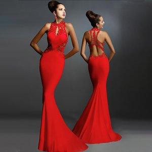 Lace Stitching girocollo maniche Backless pacchetto Hip abito Fishtail Gonna esplosione modelle Evening Gown Cross-Border Abbigliamento Donna