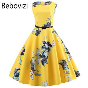 Желтый женщины Dress Новый 2018 повседневная цветочные элегантный ретро старинные 50-е 60-е годы Robe Femme рокабилли качели Pinup Vestidos платья партии Y19012201