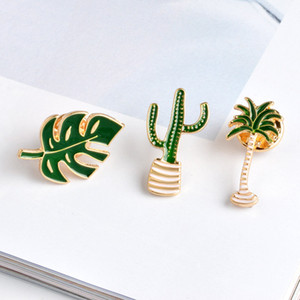 Hot Fashion Jewelry Women's Elegant Plant Brooch Coconut Cactus Leaf Brooch Corsage S382